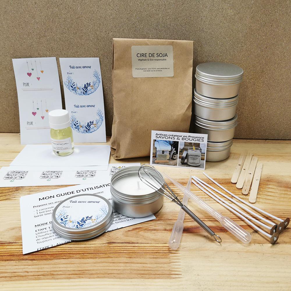 Retrouvez le kit complet pour réaliser 4 bougies à réaliser à la maison !